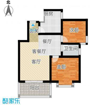 嘉园馨苑76.79㎡I户型 两室两厅一卫户型