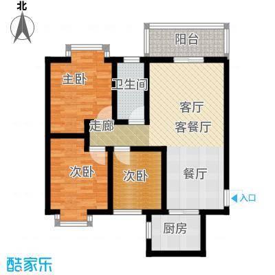 嘉园馨苑89.80㎡E户型 三室两厅一卫户型