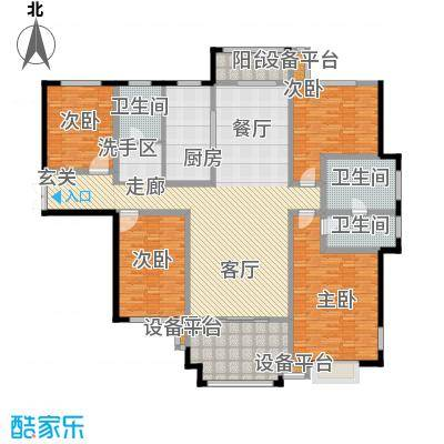 揽盛金广厦245平米四室两厅两卫户型