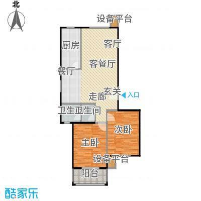 金羚嘉和馨园二期114.38㎡8#楼GA户型2室2厅1卫1厨户型2室2厅1卫