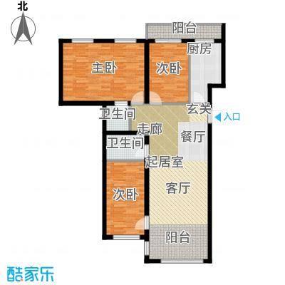 星河国阅公馆Room E 三室两厅两卫 参考使用面积103.90平米户型3室2厅2卫