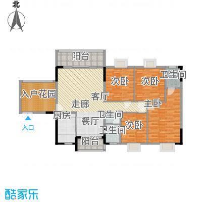 康定园华龙苑164.13㎡四室两厅两卫双阳台户型