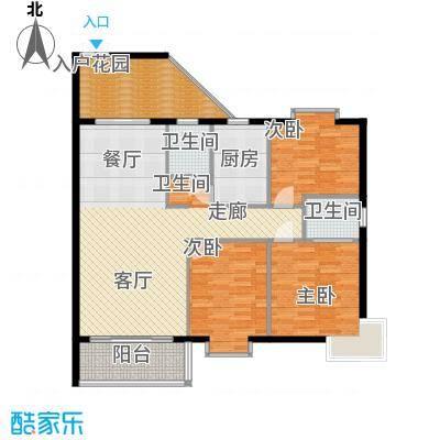康定园华龙苑119.06㎡三室两厅一厨一卫户型