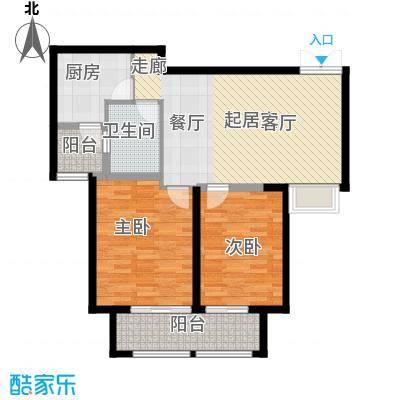 苏宁睿城B2户型2室1卫1厨