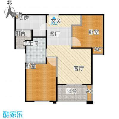 招商南桥1号80.00㎡二房二厅一卫-85平方米-95套户型