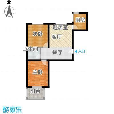 嘉园馨苑86.95㎡L惬意两房户型2室2厅1卫户型2室2厅1卫