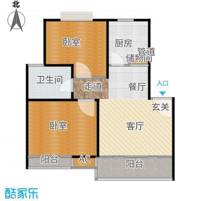 明城玫瑰园70.00㎡房型: 二房; 面积段: 70 -80 平方米;户型