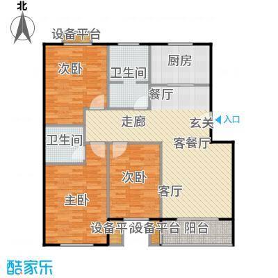 金羚嘉和馨园二期130.78㎡4#楼J1户型3室2厅2卫1厨户型3室2厅2卫