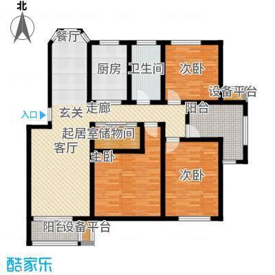 丰润港岛花园户型3室1卫1厨