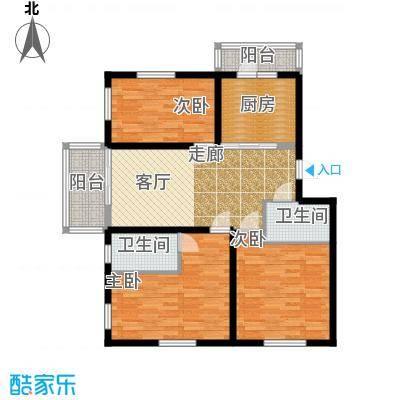 金豪斯经典二期A户型三室二厅二卫使用面积86.29平米户型3室2厅2卫