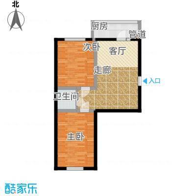 金豪斯经典二期H户型二室一厅一卫使用面积54.14平米户型2室1厅1卫