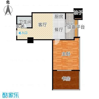 首创漫香郡公寓标准层A2户型图1室1厅1卫1厨户型