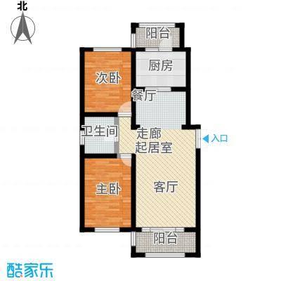 明悦浪漫城项目三2室2厅1卫78.00平米户型2室1厅1卫