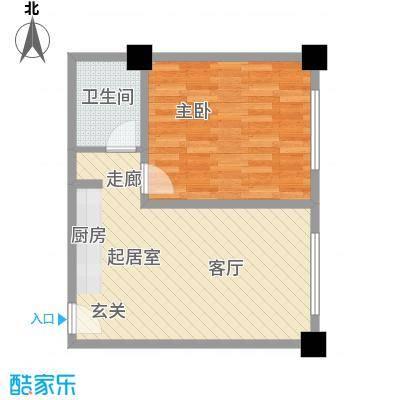 上城左岸58.00㎡三期户型图2C户型1室1厅1卫