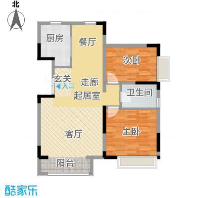 中交上东湾100.00㎡顶层-G01户型2室2厅1卫