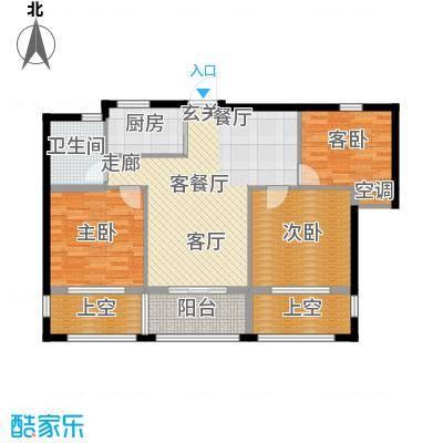 云峰苑90.00㎡3号楼-04户型 E2偶数户型3室2厅1卫