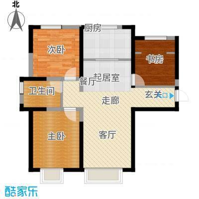 宜禾红橡公园107.00㎡高层HM3户型3室2厅1卫