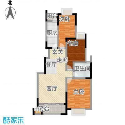 中惠卡丽兰106.00㎡E户型3室2厅1卫