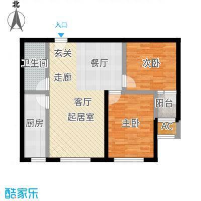 开元花半里F户型2室2厅1卫户型2室2厅1卫