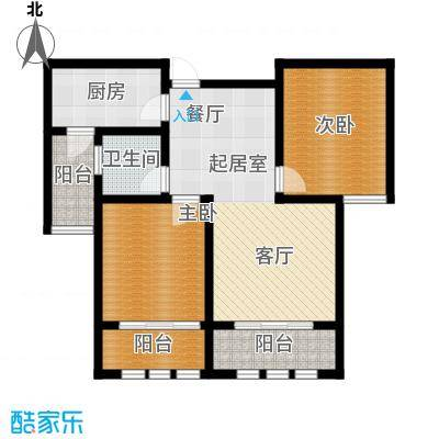 凤凰水城92.33㎡小高层E2户型2室2厅1卫