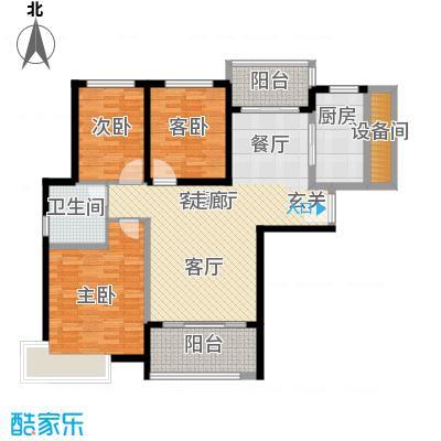 恒大山水城120.07㎡77号楼 3室2厅1卫户型3室2厅1卫