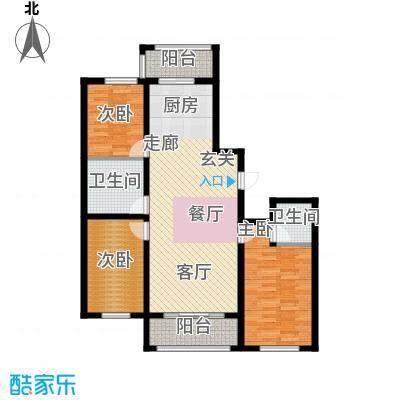 富佳新天地100.76㎡使用面积100.76平方米户型图户型3室2厅2卫