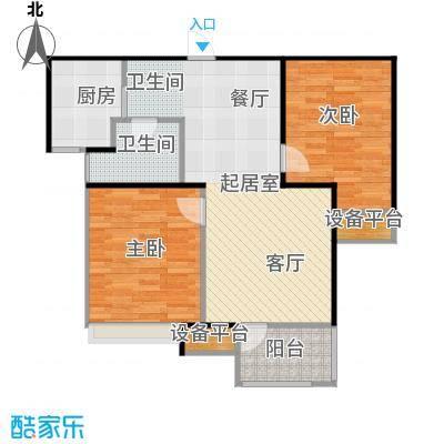 荣盛花语馨苑户型2室1卫1厨