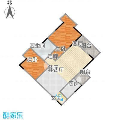 中海金沙苑82.06㎡9栋-204户型2室1厅1卫1厨