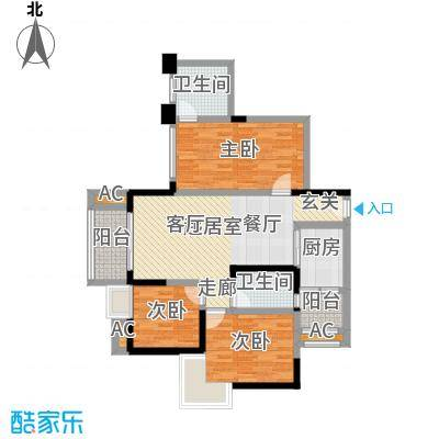 香榭国际87.27㎡2011年2期1批次A1户型87.27㎡(赠送23.85㎡)3室2厅1卫户型3室2厅1卫