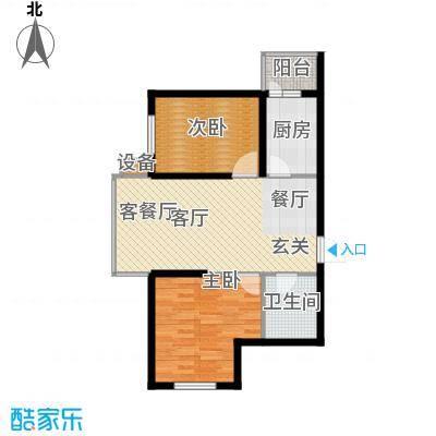 柒零捌零城仕公馆B7户型使用面积60平米户型2室2厅1卫