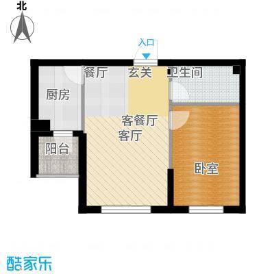 柒零捌零城仕公馆A2 1室2厅1卫使用面积42-44平米户型1室2厅1卫