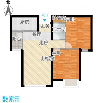 天津富力桃园2号楼02户型2室2厅1卫