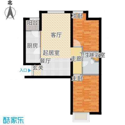 天津富力桃园1号楼03户型2室2厅1卫