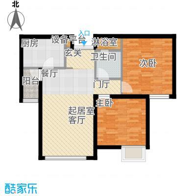 天津富力桃园1号楼02户型2室2厅1卫