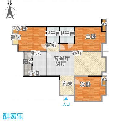 蓝天公寓三室一厅二卫户型