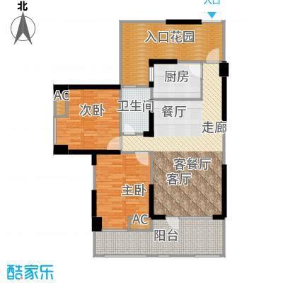 名著司南89.00㎡G户型两室两厅一卫实得面积114平米户型2室2厅1卫
