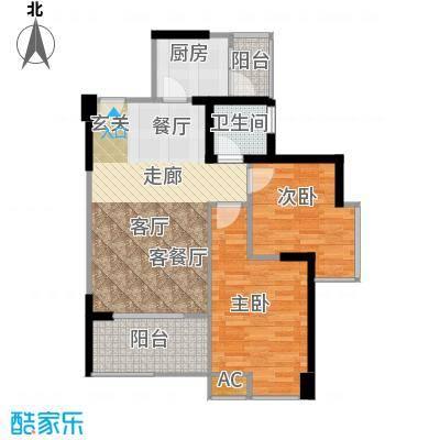 名著司南80.00㎡E户型两室两厅一卫实得面积88平米户型2室2厅1卫