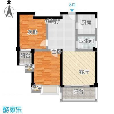 龙泉华庭80.56㎡B6户型2室2厅1卫