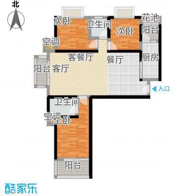龙泉华庭109.00㎡B9 三房两厅两卫户型