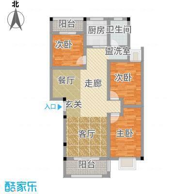 和祥苑99.20㎡1#2型:3房2厅1卫户型