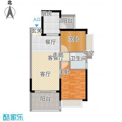 恒大绿洲户型2室1厅1卫1厨