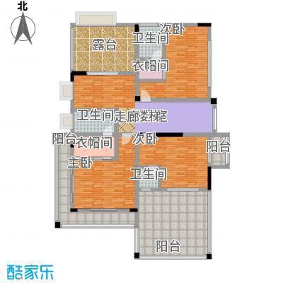 黄金海岸E1户型二层平面图户型3室1厅3卫