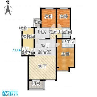 珑�庭123.00㎡F户型3室2卫1厨