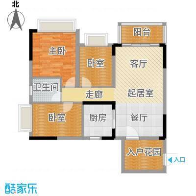 锦绣国际花城98.20㎡3幢5-15层01单元户型1室1卫1厨