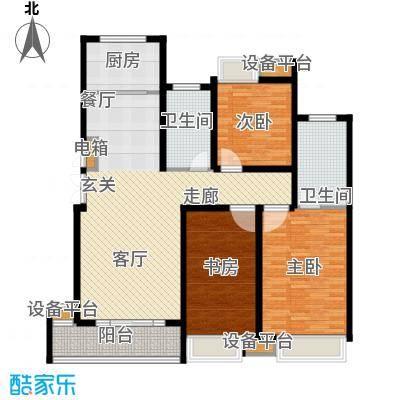 蓝天小区130.00㎡H户型标准层户型3室2厅2卫