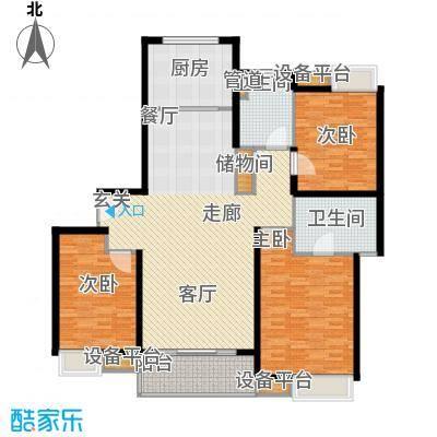 蓝天小区147.00㎡K户型标准层户型3室2厅2卫