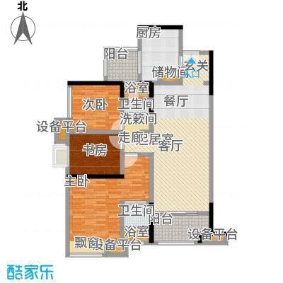 万科金域名邸111.00㎡电梯户型图M2型户型3室2厅2卫