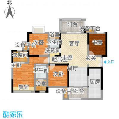 万科金域名邸131.00㎡电梯户型图L2型4室2厅2卫户型4室2厅2卫