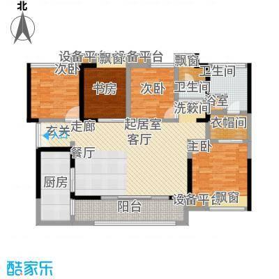 万科金域名邸127.00㎡电梯户型图L1型户型4室2厅2卫