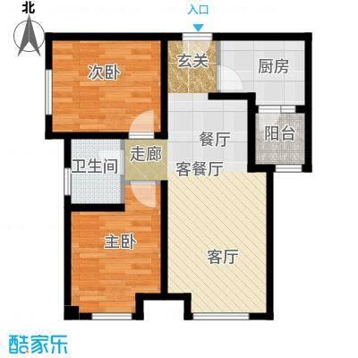 绿地之窗77.00㎡A3户型2室2厅1卫